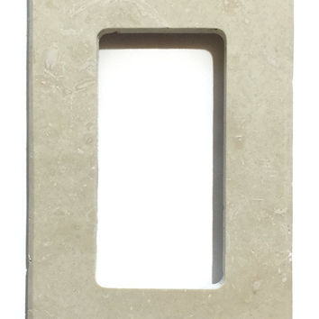 Ivory Travertine Single Rocker Switch Wall Plate / Switch Plate / Cover - Honed