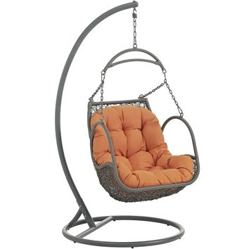 Arbor Outdoor Patio Wood Swing Chair Orange EEI-2279-ORA-SET