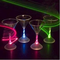Lot of 4 of LED Light Up Flashing Martini Glasses