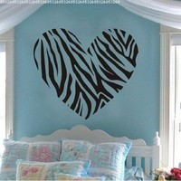 Sweet Heart Wall Art Decal Sticker Decor Mural DIY Vinyl Décor Room Home (Zebra Stripe Heart)