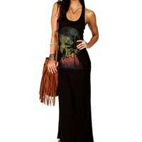 Black X Back Graphic Maxi Dress