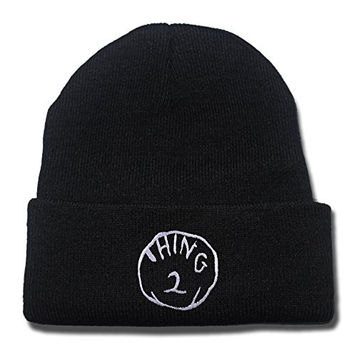 YUGY Thing 2 Beanie Embroidery Beanies Skullies Knitted Hats Skull Caps