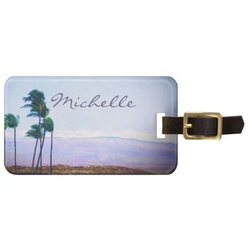 Hawaii palm trees photo custom name luggage tag