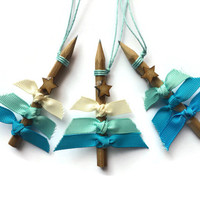 Hanging Christmas Tree Ornaments in Frozen Blues with genuine PENCIL trunk and a Rustic Star Top Set of three
