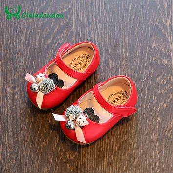 Claladoudou 11.5-15.5CM Baby Girl Shoes Red Pink Soft Sole Baby Leather Peal Flower Cute Toddler Girls Princess Dress Shoes