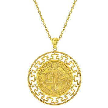 18k Gold Plated St Benedict Medal Catholic Protection Pendant Necklace 19""