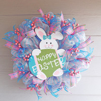 Pink and Blue Deco Mesh Easter Wreath