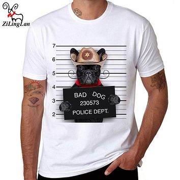 ZiLingLan Brand Summer Breathable Cotton T-shirts Bad French Bulldog Printed T Shirt Novelty Short Sleeve Men's Tees US/EUR Size