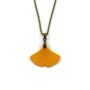 Yellow ginkgo leaf necklace, eco-friendly nature necklace, woodland necklace, rustic necklace, painted plastic fancy necklace (recycled CD)