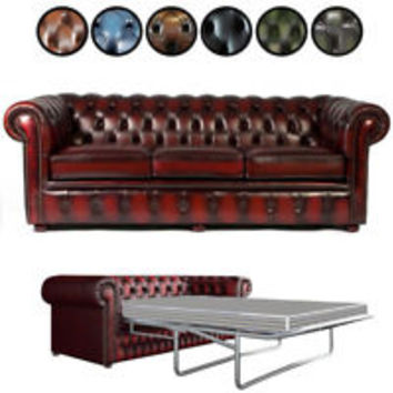 Brand New Chesterfield 2 Seater Sofa Bed Antique Oxblood Genuine Leather Settee