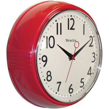 "WESTCLOX 32042R 9.5"" Retro 1950s Kitchen Wall Clock"