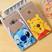 cartoon cute TPU+acrylic hard silicone case Transparent lovely mickey minnie pooh bear stitch for iPhone 5 5s 6 6s 6 Plus cover