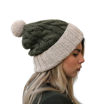 Pom Pom Hat, Beanie Hat, Rolled Bim Hat, Cable knit Beanie, Women Hat, Winter Hat, Moss Green Hat, Accessories, Alpaca hat
