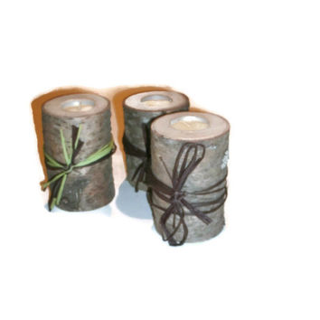 Log Candle Holders Set of three  - Tealight Holders - Rustic Decor with Ribbon