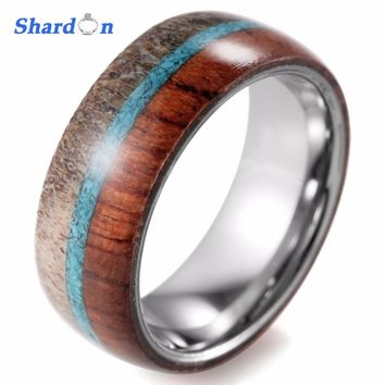 SHARDON Domed 8mm Mens Wild Antler and wood Inlaid Tungsten Ring