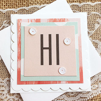 "A Simple Hi Mini Card, Gift Tag, Greeting, Hello, Keep In Touch, Birthday, Thinking of You, Surprise, Friendship Day August 7, - 3""x3"""