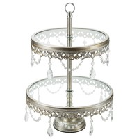 2-Tier Vintage Glass Top Crystal Dessert Cupcake Stand (Silver)