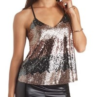 Ombre Sequin Swing Crop Top by Charlotte Russe - Black Combo