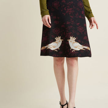 Sweater Knit Midi Skirt in Birds