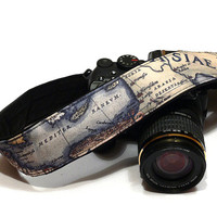 Vintage Map Camera Strap. Canon Nikon Camera Strap. SLR, DSLR Camera Strap. Gift For Photographer.