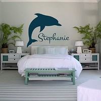 Wall Decals Personalized Name Decal Vinyl Sticker Girl Nursery Room Dolphins Decor Home Bedroom Interior Design Art Mural MN638