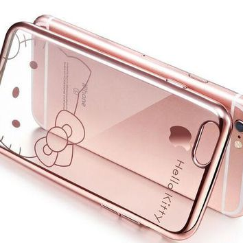 DCCKHY9 Lovely Cartoon Hello Kitty Clear Soft TPU Rose Gold Sliver Cover Case For Apple iPhone 6 6S 6 Plus 6S Plus