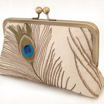 silk peacock feathers luxury clutch bag by redrubyrose on Etsy
