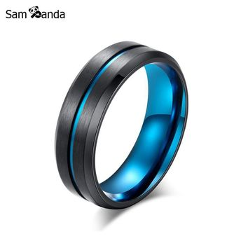 Titanium 2018 New Mens Ring Matte Double Color Punk Blue Thin Line Rings For Men Women Wedding Band Male Alliance Jewelry