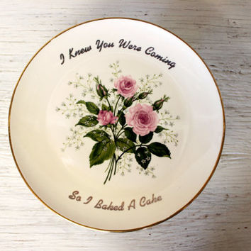 vintage pedestal cake plate // ceramic cake stand // roses i knew you were coming