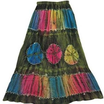 Peasant Boho Skirt Green Tie Dye Vintage Long Skirts for Women