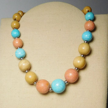 Pastel Color Beaded Choker Necklace Large Painted Wood Beads Gold Tone Filler Beads Light Green Salmon Color Light Butterscotch Vintage