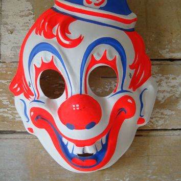 Vintage Clown Mask Halloween Rare Find