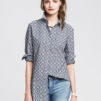 Banana Republic Womens Soft Wash Ikat Chambray Shirt