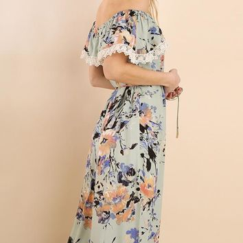 Sage Floral Print Off Shoulder Dress