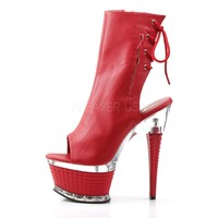 Illusion 1018 Red Leatherette Textured Platform Back Lace Ankle Boot