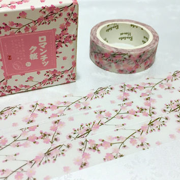 sakura washi tape 7M x 1.5CM cherry blossom pink flower masking washi tape florist flower sticker tape fancy flower diary planner gift