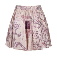 Fashion Digital Print MARAUDERS MAP Women Summer Skater Mini Skirt (Size: M, Color: Multicolor) = 5738990721