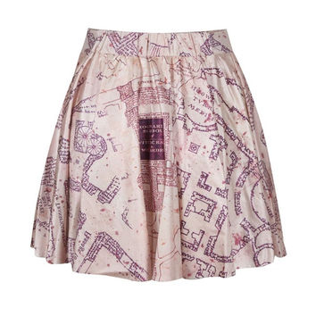 Fashion Digital Print MARAUDERS MAP Women Summer Skater Mini Skirt (Size: M, Color: Multicolor) = 1946359940