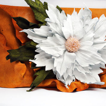 Leather clutch,  Flower Clutch, Orange clutch, handmade clutch