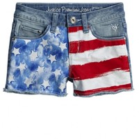 Flag Printed Denim Shorts