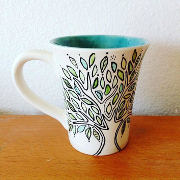 Green Boho Coffee Mug - Tree Coffee Mug - Coffee Mug - Green Leaf Mug - Bohemian Mug - Green Mug - Nature Lover Gift - Nature Mug -  Ceramic