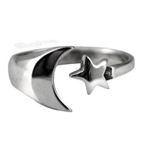 Moon & Star Sterling Silver Ring on Sale for $14.95 at HippieShop.com
