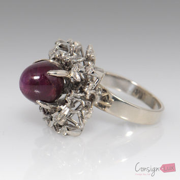 8.54 Ct. Star Ruby and Diamond Ring