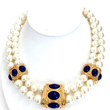 "Napier ""Continental"" Two Strand Choker Necklace,  Faux Pearl & Lapis, Three Gold Tone Metal Stations, Statement, Vintage 1990s, Signed Pat."