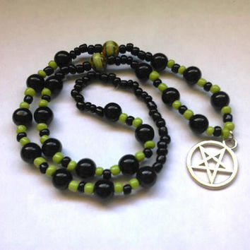 Pentacle, Pentacle Necklace, Pentacle Jewelry, Pagan Prayer Beads, Wicca, Wiccan, Pagan, Wicked Witch, Necklace, Jewelry, Witchy, Witch