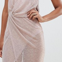 ASOS DESIGN Tall metallic sheer maxi dress at asos.com