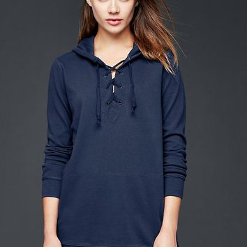 Gap Lace Up Tunic Hoodie