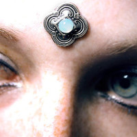 Simple Tribal Bindi, opal glass, silver stamping, tribal fusion, gypsy, bollywood, moonstone, fae, wicca, bellydance, kuchi, third eye, dot