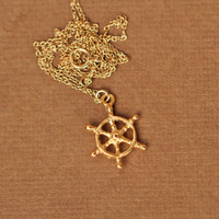Ship wheel necklace - captains wheel - nautical necklace - beach - a 22k golf vermeil ships wheel on a 14k gold vermeil chain