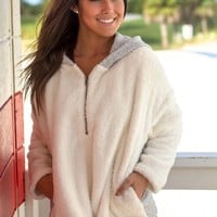 Ivory Fuzzy Sweater with Gray Hood